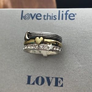 NWT Love This Life Stacked Love Ring, Size 7